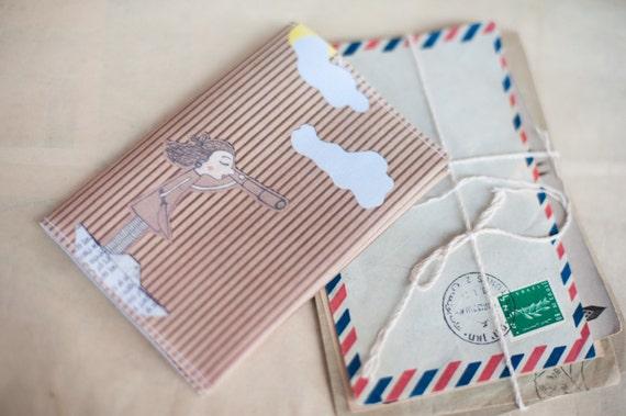 "Romantic Fabric Passport Cover ""Pirate Girl"""