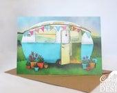 Vintage Caravan Greeting Card, Blank Card, Birthday Card, Thank You Card, Easter Card, Good Luck Card, New Home Card
