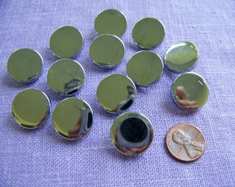 Set of 13 Vintage Shiny Silver Plastic Shank Buttons