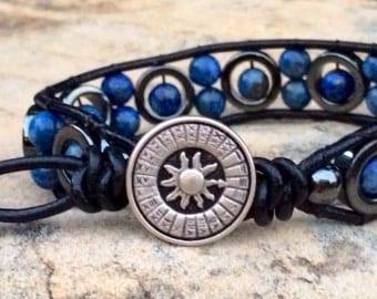 Lapis lazuli wrap bracelet
