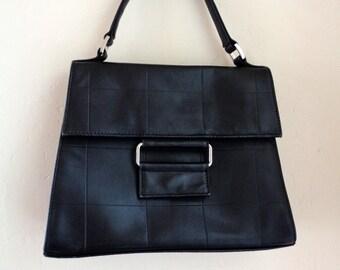 Black leather handbag, vintage embossed genuine leather structured bag, satchel