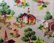 Vintage Barkcloth fabric, 1950's, never used yardage, American New England style buildings
