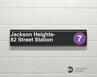 Jackson Heights- 82 Street Station - New York City Subway Sign - Wood Sign