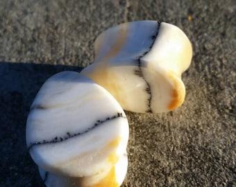 "11/16"" (17mm) Silver Lace Honey Onyx Teardrop Stone Plugs Handmade"