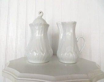 Limoges France Cream and Sugar Set with Lid Elegant White Galerie de France