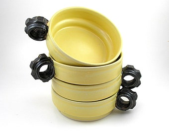Soup Bowls Pasta bowls Stacking Cereal Bowls Sunflower and Black gold