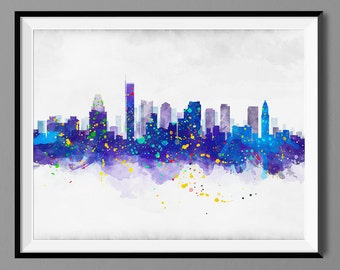 Boston MA Skyline - Watercolor Art Print Poster - Housewarming, Home Decor, Wall Hanging, Art Collectibles, Home Living Prints Massachusetts
