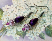 Whimsical Earrings, Purple and Pink, Fantasy Jewelry
