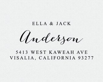 Self-Inking Return Address Stamp or Wood Mount, Personalized Address Stamp, Wedding Invitation Stamp, Calligraphy Handwriting Script  (T282)