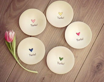 Thanks Ceramic Ring Dish Set of 5 Love Pottery Bridal Plate Red Heart Jewelry Dish