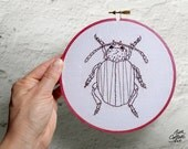 Embroidery Hoop Art, Beetle, Gift for Science Teacher, Biology, Natural History, Curiosity Cabinet, Insect, Entomology, Entomologist, Oddity