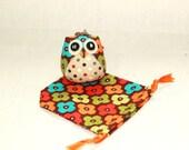 Billy - the Little Owl Doll with Bag: brown, plush, keychain, children, kid, baby, cute, kid, boy, kawaii, plaid, dot, flower, poka dot