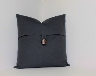 Choose spice red, grey or tan button pillow cover. Large coconut button. decorative throw pillow, home decor accent