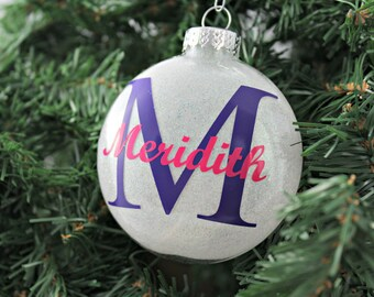 White Glitter Personalized Glass Ornament / Christmas Ornament / Holiday Gifts under 20 / Custom Gifts