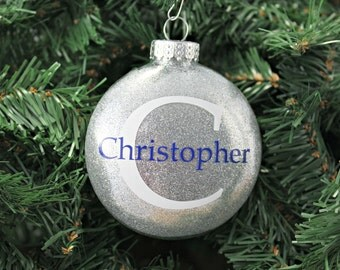 Silver Glitter Personalized Glass Ornament / Christmas Ornament / Holiday Gifts under 20 / Custom Gifts