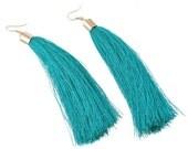 Teal Tassel Earrings