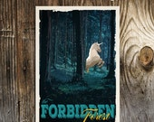 FORBIDDEN FOREST Harry Potter Travel Poster Vintage Print Wall Art Christmas House Warming Gift Children Room decor Geekery
