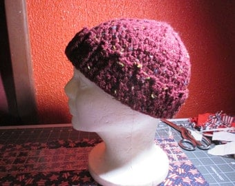 Knitted maroon sock hat
