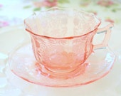 Vintage, Cambridge Pink Glass, Decagon Shape, Tea Cup and Saucer, Replacement China, Little Princess Birthday Tea Party - c. 1902 - 1958