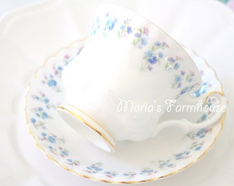 English Bone China Royal Albert Tea Cup and Saucer Montrose Shape Memory Lane Pattern Cottage Style - 1965+