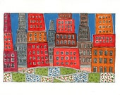 """Art And Collectibles ,  Watercolor Painting ,  """" A Garden In The City """"  , Mixed Media Painting"""