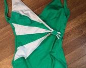 Vintage Swimsuit / 1980's Bathing Suit / Eighties Swimwear / Women's Size 10