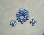 50's BeauJewels blue and blue ABs rhinestone demi parure, brooch and clip earrings, gorgeous ice blue set, brilliant stones