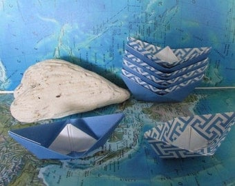 10 paper boat origami sail boats summer beach party dream wedding birthday cake topper blue /white