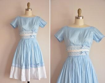 50s Chasing Clouds dress/ vintage 1950s cotton sundress/ full skirt blue & white dress