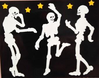 Halloween dancing skeleton stickers,partying skeletons