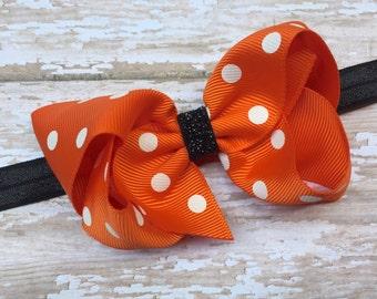 Orange & black headband with 4 inch polka dot bow - orange baby headband, orange newborn headband, orange bow headband