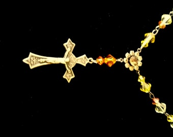 Antique (authentic) silver over brass Crucifix Necklace..