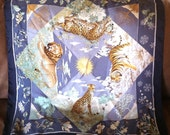 Salvatore Ferragamo Blue Big Cat Wildlife Silk Scarf - Leopard, Lion, Tiger and Cheetah with Sun, Snowflakes, Leaves, Flowers, Trees