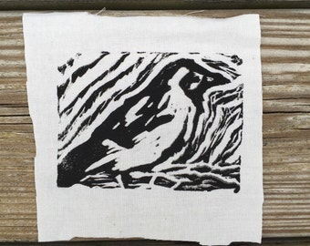Bird Drawing // Back Patch // Punk Patch // Relief Print // Linocut
