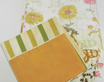 Vintage Double (full) Flat Sheet & 2 Pillow Cases, Gold Pink Green Brown, Stripes Flowers, Vera Neumann, Penneys, Cannon Bed Linen, Crafting
