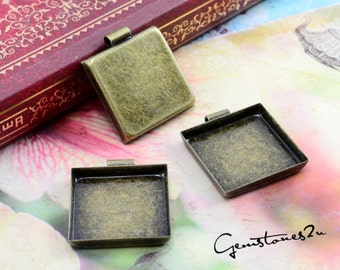 10pcs Antique Bronze 20mm Brass Square Cameo Base Setting Pendant