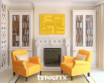 20x30 Metal Print featuring Custom Typography Word Art - Your Words, Your Colors, Your Story - Great for Family, Wedding Gifts