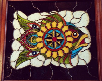 Prickett Fish Stained Glass Panel