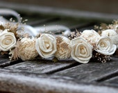 Sola  Roses flower Hair Crown Sola flowers Bridal Headpiece Bridesmaids Flower girls Headpiece Baby's Breath Beach inspired