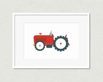 Nursery print, tractor print, modern nursery art, kids room art, nursery art, nursery decor, red tractor, tractor, tractor art, red art