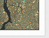 NEW YORK Map, Giclee Fine Art Print, Modern Wall Art for Home Decor by Jazzberry Blue