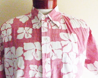 aloha vintage 80's Paradise Found blood red white two tone hibiscus floral flower reverse print hawaiian shirt tropical popover collar large