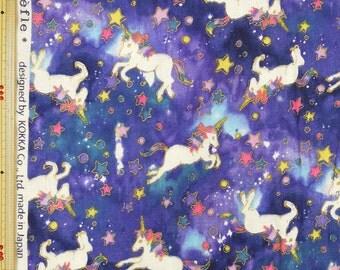Kokka Unicorn Design Japanese Fabric / Double Gauze Navy - 110cm x 50cm