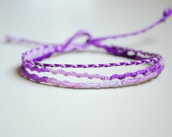 Clearance!! Lovely Lavender Chinese Staircase Friendship Bracelet