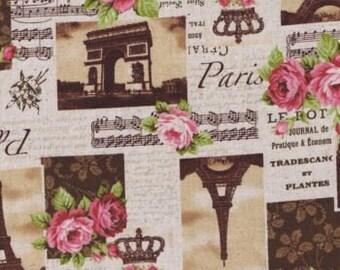 Fat Quarter Sepia Paris Scenes Music And Roses Linen Cotton Mix Quilting Fabric