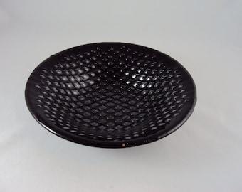 Round black glass bubble bowl