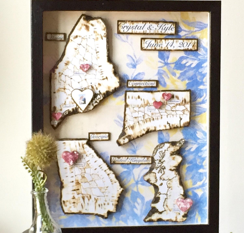 Anniversary present travel map shadow box framed