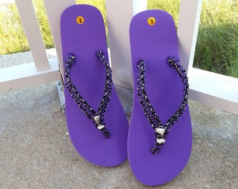 Purple, Black and White Paracord Flip Flops/Football Flip Flops/ Charmed Flip Flips~Native Made