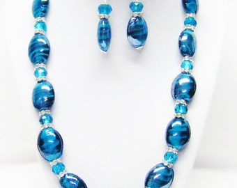 Chunky Aqua Oval Glass Bead Necklace Bracelet & Earrings Set
