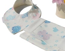 Baby Dribble Bib And Burp Cloth Set, Original Butterfly Meadow Fabric, Absorbent Organic Bamboo Fleece Lining, bandanna bib